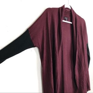 Apt. 9 Burgundy Open Front Cardigan Black Sleeves